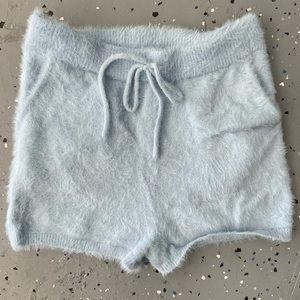 blue fuzzy shorts